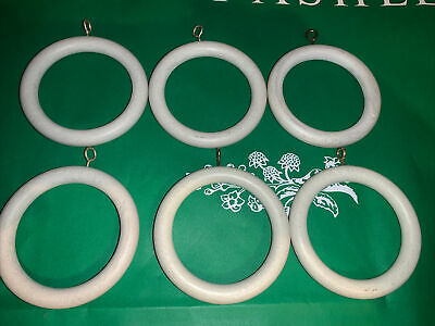 £10 • Buy 💐laura Ashley💐 Curtain Pole Wooden Rings 45mm Cream Distressed  X 6 3470311