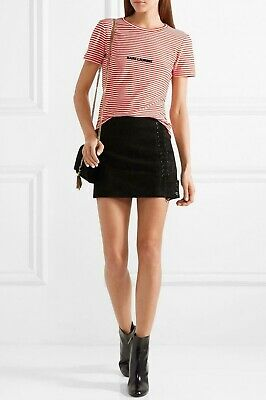 AU199 • Buy Women's Saint Laurent Red Flocked Striped Cotton T-shirt