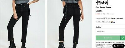 AU85 • Buy Ksubi Chlo Wasted Venom Jeans Black Size 26