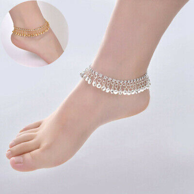 £5.68 • Buy Antique Ankle Chain Gold Silver Anklet Indian Payal Foot Chain With Bells 1pc