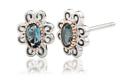 £59 • Buy NEW Welsh Clogau Silver & Rose Gold The Two Queens Topaz Earrings £60 Off!