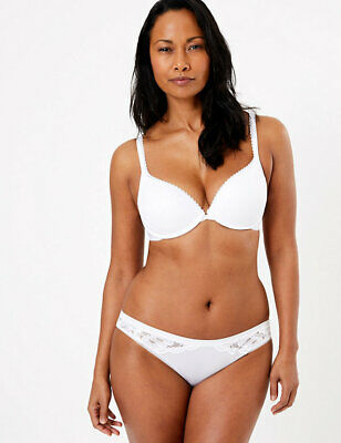 £14.99 • Buy Marks & Spencer M&s Perfect Fit Padded Push-up Memory Foam White Plunge Bra :
