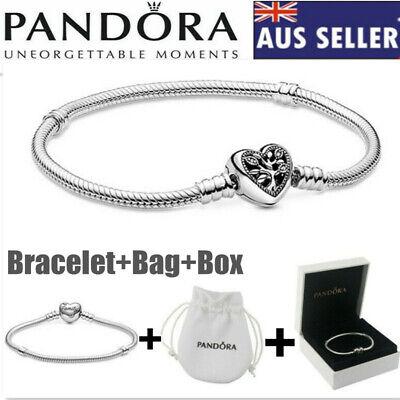 AU17.90 • Buy Genuine Silver Pandora Moments Family Tree Heart Chain Charm Bracelet +Bag+Box