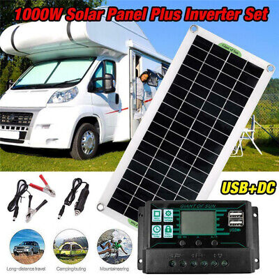 £52.99 • Buy 1000W Inverter 30W Solar Panel Kits Battery Charger 100A Controller Caravan Boat