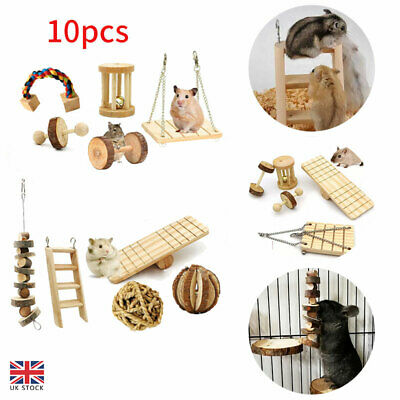 £15.59 • Buy 10 Pack Of Wooden Hamster Chew Toy Hamster Rabbit Guinea Pig Accessories Set Kit