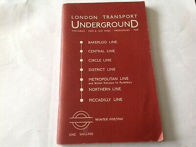 London Transport Underground Guide Winter 1959 1960 Includes Tube Map Timetables • 24£