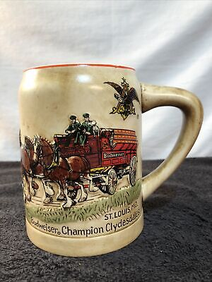 $ CDN75.32 • Buy VTG 1980 Budweiser First Edition Champion Clydesdales Holiday Beer Stein MINT!