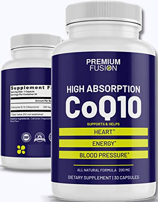 $ CDN23.24 • Buy CoQ10 200mg Ubiquione Capsules | Coenzyme Q10 - Best High Concentration Capsules