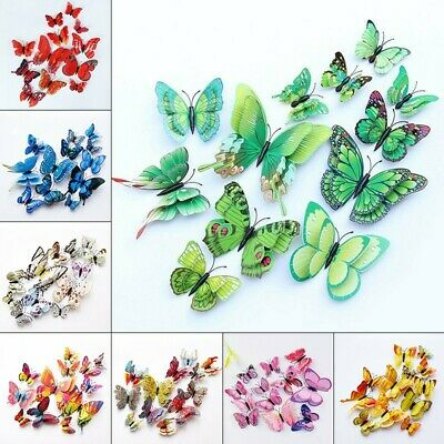 AU10.34 • Buy 12pcs 3D Butterfly Wall Stickers Art Decals Home All Room Decorations Decor Kid