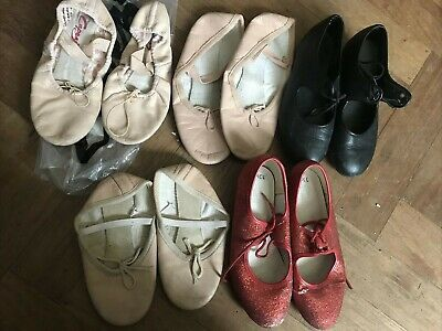 Used Job Lot X5 Girls Tap Shoes & Ballet Shoes Size 12, 13, 2.5, 3 Bargain Dance • 4.99£