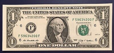 $4.99 • Buy 2009 $1 One Dollar Bill Federal Reserve Note ERROR Low 0 In Serial Number Crisp