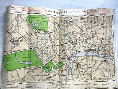 1958 Map Of Actual London Underground Stations + 1934 Railway & Bus Timetables • 0.99£