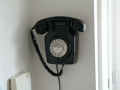 GPO 711 Black Wall Telephone 1973 Vintage, Fully Working, With Wall Bracket. • 14£