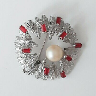 Vintage Silver Tone Faux Pearl Red Stones Pin Brooch Modernist Statment 3D   • 7.99£
