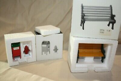 NEW! Dept 56 Wrought Iron Park Bench # 5230-2 & Mail Box Fire Hydrant # 5214-0 • 5.80£