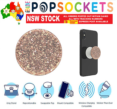 AU24.50 • Buy PopSockets Pop Socket Premium Iridescent Confetti Rose Gold Phone Stand Holder