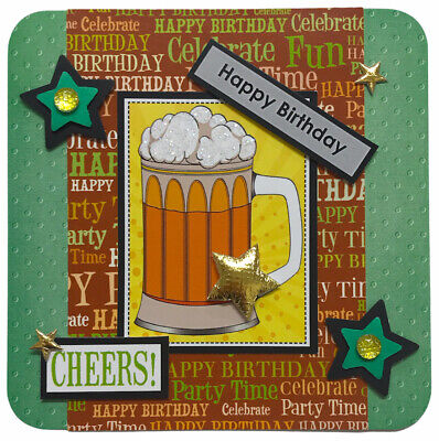 """£1.39 • Buy 1 X BEER Themed Birthday Topper 4"""" Hand Made For Card Making 10.5cm (B396)"""