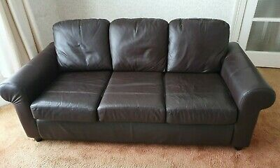 Ikea 3 Piece Suite, Sofa And 2 Chairs.Brown Leather Facings • 30£
