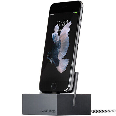 NATIVE UNION DOCK+ For IPhone IPad IPod || Slate Grey || Weighted Charging Dock • 34.99£
