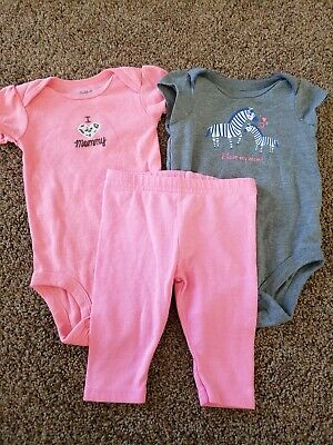 AU3.80 • Buy Baby Girl Clothes Size 3 Months, Zebra Bodysuit, Pink Pants