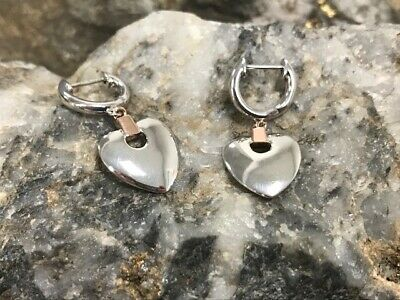 £89 • Buy Official Welsh Clogau Gold Silver & Rose Gold Cariad Heart Drop Earrings £40 Off