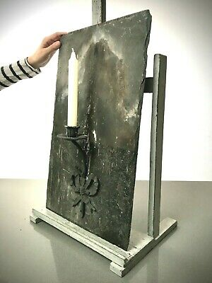 £85 • Buy Welsh Roof Slate Candle Sconce. Repurposed With French Chateau Candle Holder.
