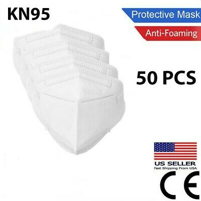 $12.95 • Buy 50 Pcs White KN95 Protective Face Mask BFE 95% Disposable Respirator