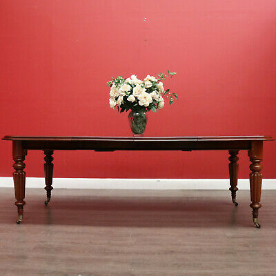 AU1495 • Buy Antique English Mahogany Dining Table, 2 Leaf Extension Kitchen Table And Winder