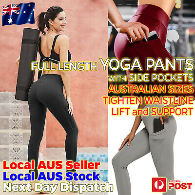 AU17.95 • Buy Womens Yoga Pants With POCKETS High Waist Compression Leggings Workout Gym Sport