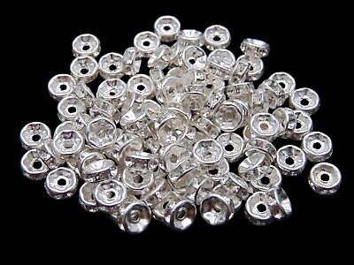 £2.69 • Buy Silver Plated Clear Rhinestone Rondelle Spacer Beads Grade A - 6mm 8mm 10mm UK