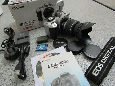 £160 • Buy Boxed Canon EOS 400D 10.1MP Digital SLR Camera - Silver With EF-S 18-55mm Lens