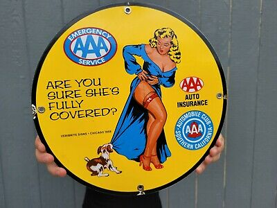$ CDN36.09 • Buy Old Vintage Dated 1958 Aaa  Triple A  Auto Car Insurance Porcelain Gas Pump Sign