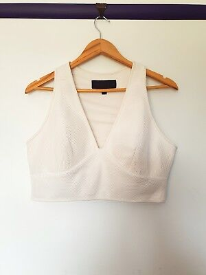AU15.99 • Buy Kendall Kylie Jenner Womens Size 14 White Fishnet Sexy Short Sleeve Crop Top