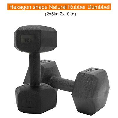 AU26.79 • Buy 2x 5kg/10kNew Verpeak Rubber Hex Dumbbell Weight Training Home Gym Fitness