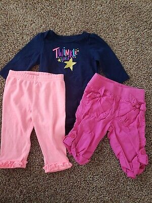AU4.19 • Buy Baby Girl Clothes Size 3 Months,  Star Bodysuit, Pink Pants