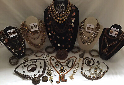 $ CDN24.99 • Buy Vintage To Now Amber Brown Costume Jewelry Lot Necklace Rings Bracelet Etc.