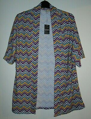AU3.57 • Buy Short Sleeved Cover Up Top Size 16-18 Multicoloured NEW Stretchy Kimono Style