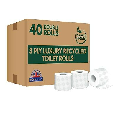 £22.22 • Buy 40 Double Length Toilet Rolls, 3ply Recycled Tissue, Plastic Free, UK Made