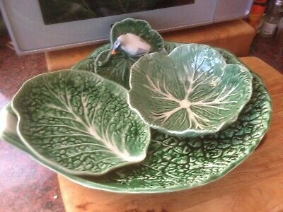 £85 • Buy Bordallo Pinheiro Portugal Majolica Cabbage Leaf Platter, Plate, Bowl +duck Dish