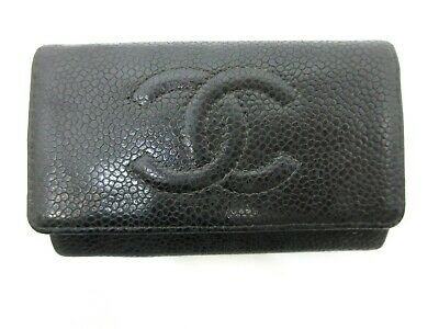 £84.25 • Buy Authentic CHANEL Caviar Skin Key Case Leather Black 93922