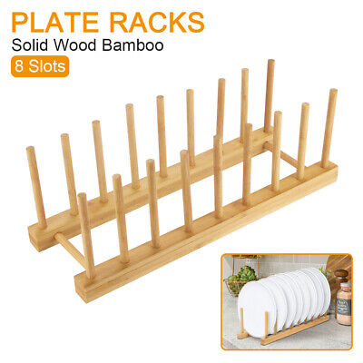 £5.79 • Buy Wood Wooden Long 8 Plates Plate Dish Rack Display Stand Holder Drainer Kitchen