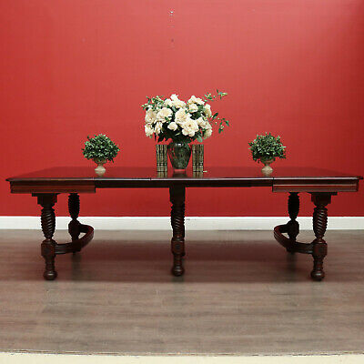 AU2400 • Buy Antique French Mahogany Dining Table, Kitchen Table With 3 Extension Leaves
