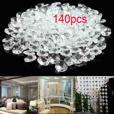 £8.02 • Buy 140pcs 14mm Clear Crystal Glass Chandelier Part Prisms Octagonal Beads Decor Hot