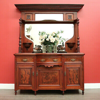 AU1895 • Buy Antique English Sideboard, Walnut Mirror Back Sideboard Cabinet Cupboard