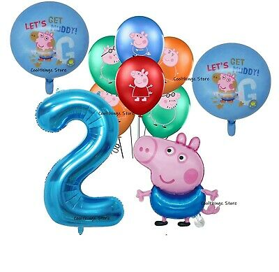 £8.99 • Buy PEPPA PIG GEORGE BALLOONS 2nd Birthday Party 10 Piece Set UK SELLER Foil Latex