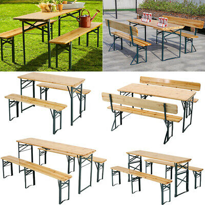 £219.95 • Buy Portable Folding 4-8 Seat Wooden Bench Garden BBQ Picnic Camping Table Chair Set