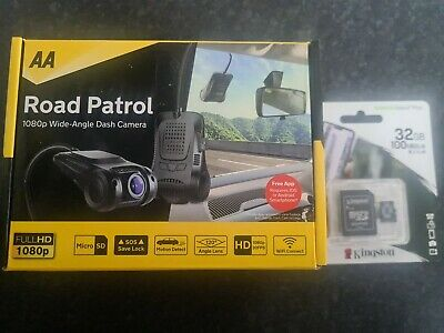 AA ROAD PATROL 1080p WIDE ANGLE DASH CAMERA CAM 32GB MICRO SD CARD WIFI CONNECT • 19.69£