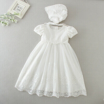 £24.99 • Buy Baby Embroidery Lace Baptism Dress Floral Christening Birthday Party Gown Bonnet