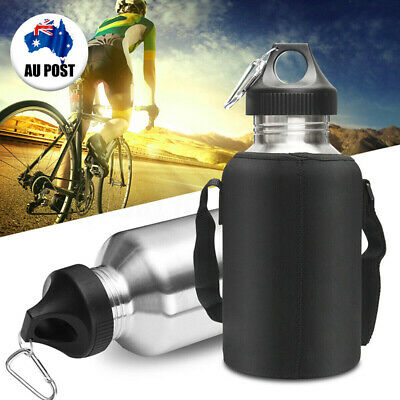 AU26.99 • Buy 2L Stainless Steel Cycling Outdoor Sports Water Drink Bottle With Pouch Kit AU