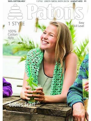 £3.75 • Buy Patons 4073 Easy Level Crochet Scarf Pattern 100% Cotton 4ply Womens Ladies